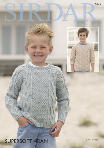 Boy's Sweater in Sirdar Supersoft Aran (2477) Digital Version