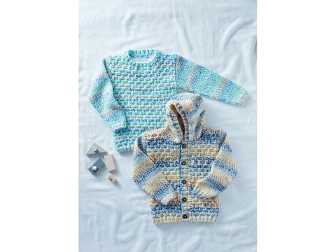 Sweater and Hooded Cardigan in Sirdar Supersoft Aran Rainbow Drops (2503S)