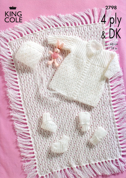 Matinee Coat, Bonnet, Booties, Mitts and Pram Cover in King Cole DK & 4 Ply (2798)