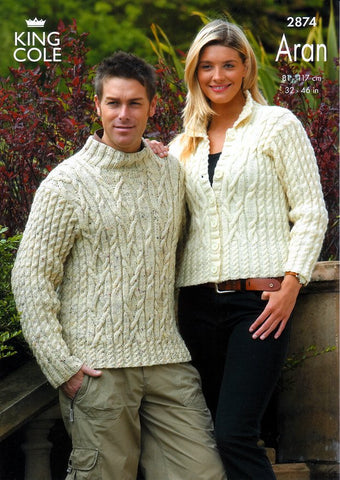 Sweater and Jacket Knitted in King Cole Fashion Aran (2874)