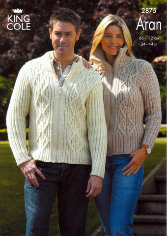 Jackets Knitted in King Cole Fashion  Aran (2875)-Deramores