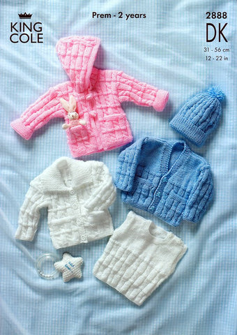 Cardigans. Jacket, Slipover & Hat in King Cole DK (2888)-Deramores