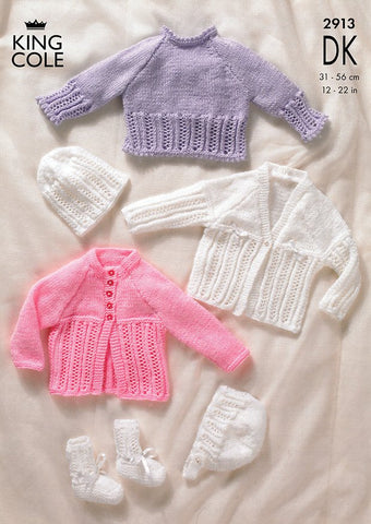 Sweater, Cardigans, Bonnet, Hat & Bootees in King Cole DK (2913)