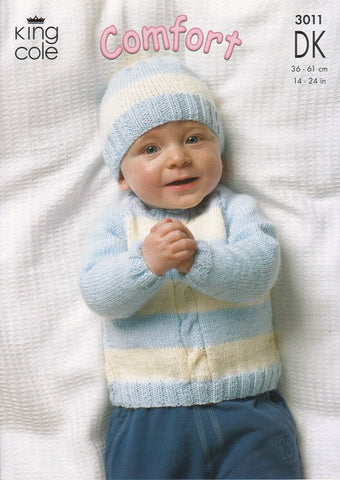 King Cole Baby Comfort Aran Knitting Pattern Jumper Trousers Hat /& Mittens 4645