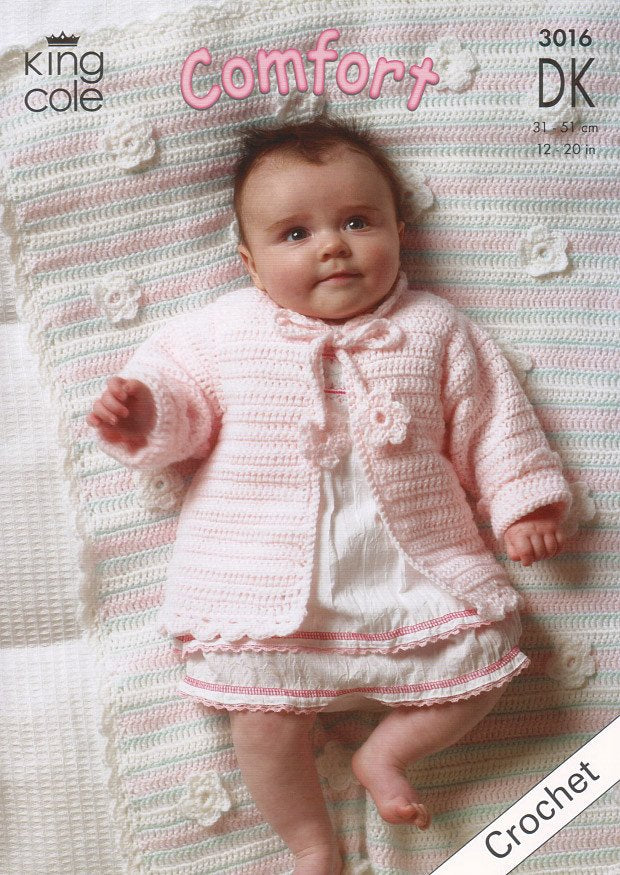 Baby Set with Pram Blanket in King Cole Comfort DK (3016)