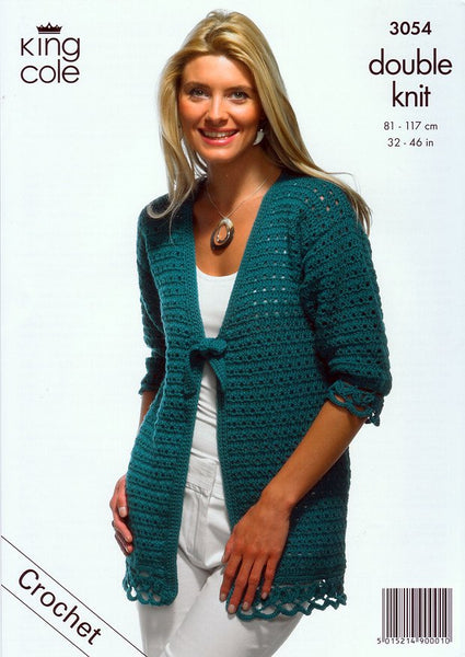 Cardigan & Top with Ties in King Cole Merino Blend DK (3054)-Deramores