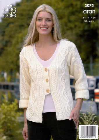 Sweater and Jacket Knitted in King Cole Fashion Aran (3075)