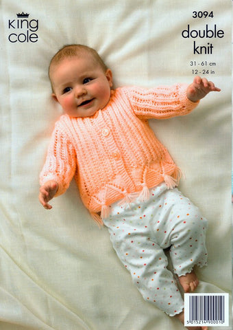 Sweater, Cardigan and Hooded Jacket in King Cole Baby DK (3094)