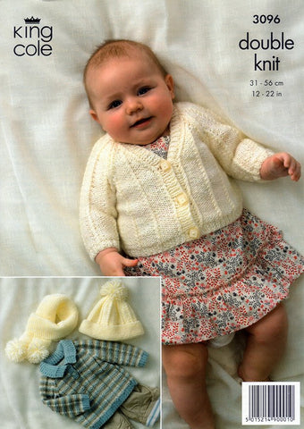 Cardigan, Sweater and Accessories in King Cole Baby DK (3096)-Deramores