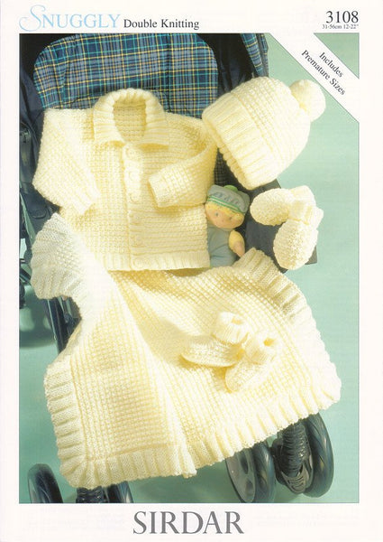 Jacket, Hat, Mittens, Bootees and Blanket in Sirdar Snuggly DK (3108)-Deramores