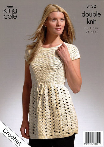 Crochet Jacket and Tunic in King Cole Bamboo Cotton DK (3132)-Deramores