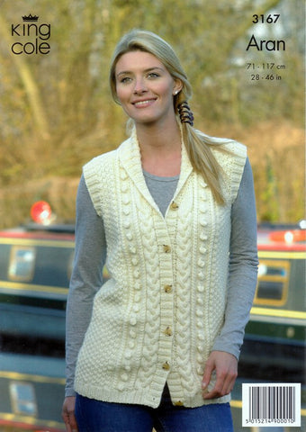 Cardigan and Waistcoat in King Cole Merino Blend Aran (3167)-Deramores