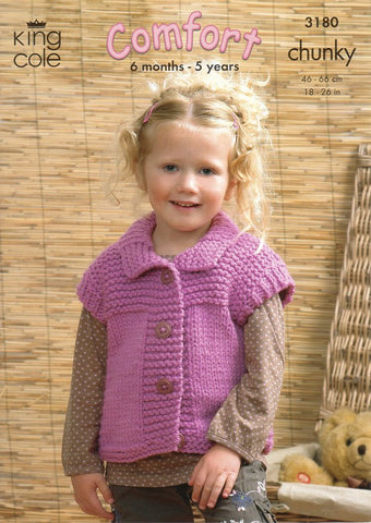 Sweater, Gilet and Jacket in King Cole Comfort Chunky (3180)