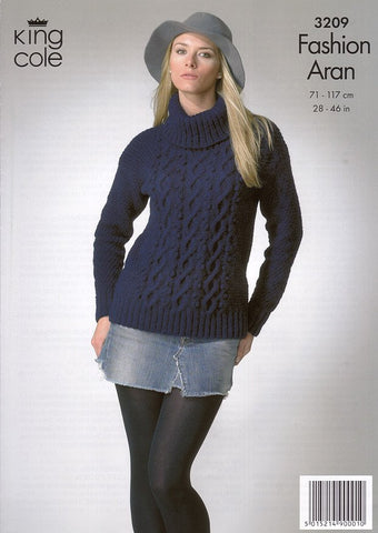 Sweater and Cardigan in King Cole Fashion Aran (3209)