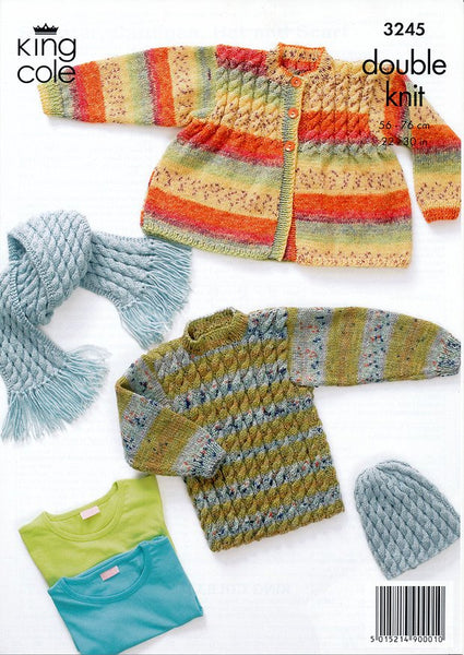 Sweater, Cardigan, Hat & Scarf in King Cole DK (3245)