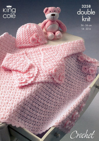 Bolero, Hat & Pram Blanket in King Cole DK (3258)-Deramores