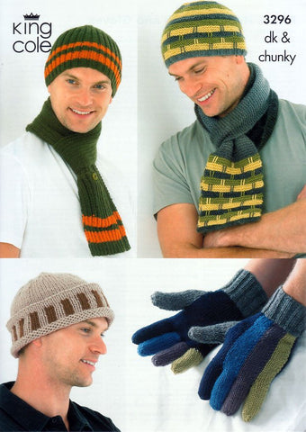 Mens Hats, Scarves and Gloves in King Cole DK and King Cole Chunky (3296)