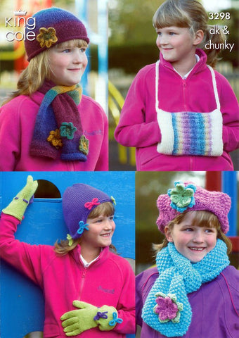 Girls Hats, Scarves, Gloves & Handwarmer in King Cole DK & Chunky (3298)-Deramores