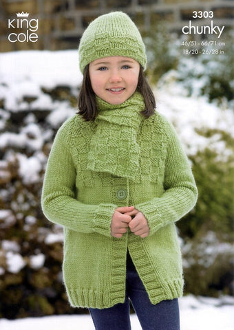 Long and Short Jackets, Hat and Scarf in King Cole Comfort Chunky (3303)-Deramores
