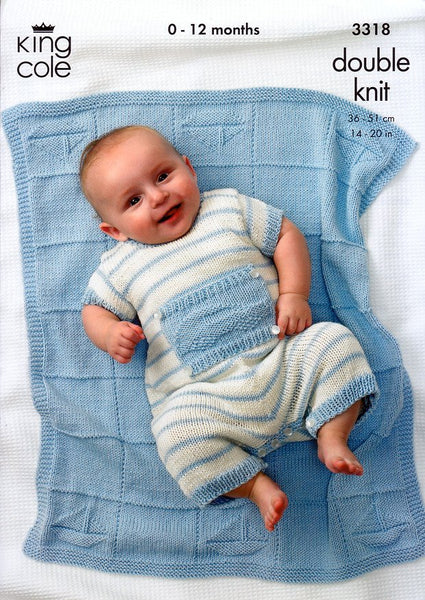 Sweater, Pants, Romper and Blanket in King Cole Bamboo Cotton DK (3318)