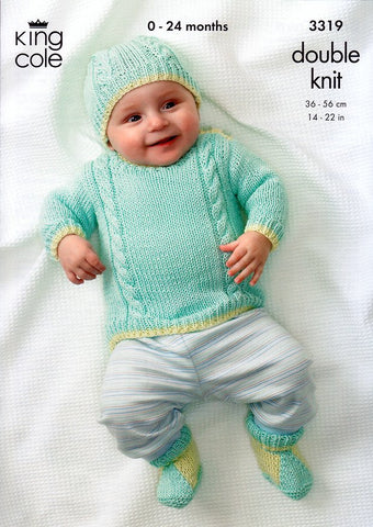 Sweater, Tank Top, Cardigan, Boots and Hat in King Cole Bamboo Cotton DK (3319)
