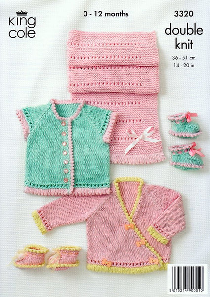 Round Neck Cardigan, Crossover Cardigan, Shoes and Pram Cover in King Cole Bamboo Cotton DK (3320)