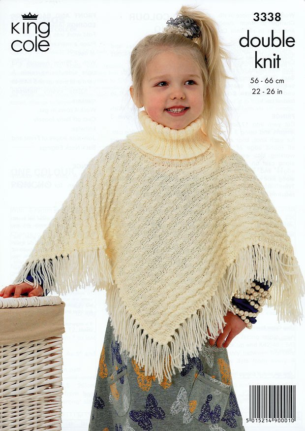 King Cole Poncho Knitting Pattern : Ponchos in King Cole DK (3338)   Deramores