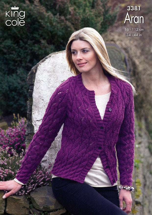 Sweater and Cardigan in King Cole Fashion Aran (3381)