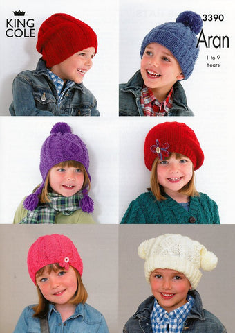 Children's Hats in King Cole Comfort Aran (3390)-Deramores
