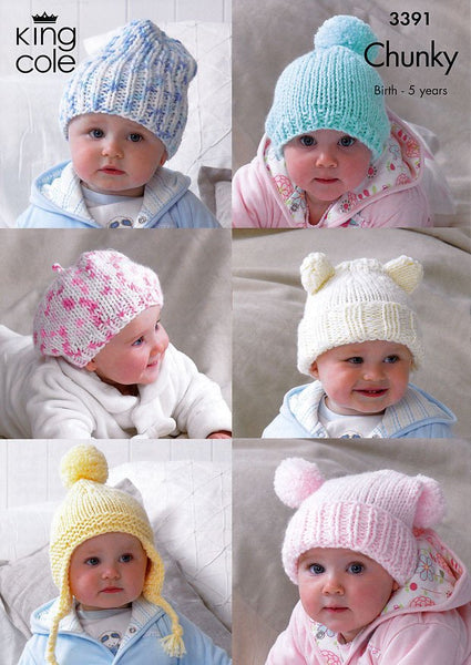 Children's Hats in King Cole Comfort Chunky (3391)