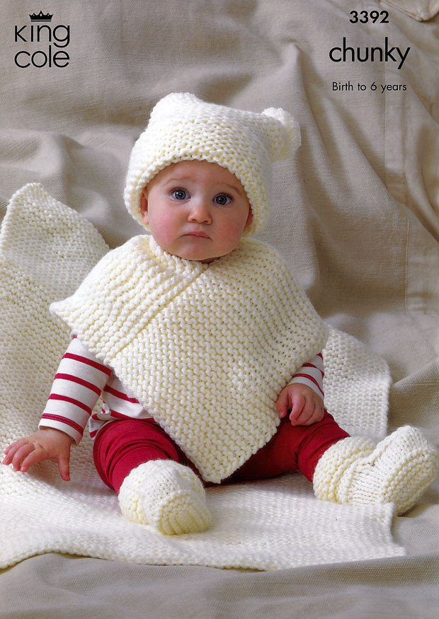 Babies Hat Poncho Bootees & Blanket in King Cole Comfort Chunky (3392)
