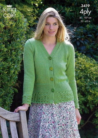 Cardigan & Sweater in King Cole 4 Ply (3419)-Deramores