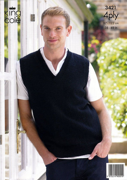 Slipover & Waistcoat in King Cole 4 Ply (3421)