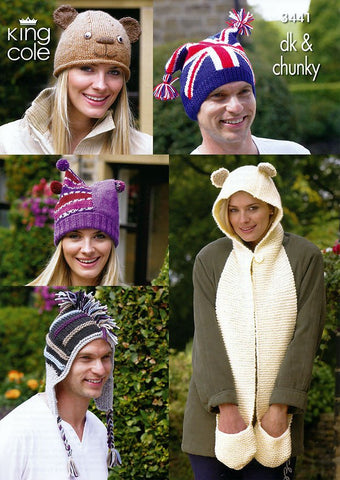 Adults Novelty Hats in King Cole DK and King Cole Chunky (3441)-Deramores