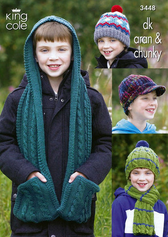Boy's Hats, Scarf & Hooded Scarf in King Cole DK, Aran and Chunky (3448)-Deramores