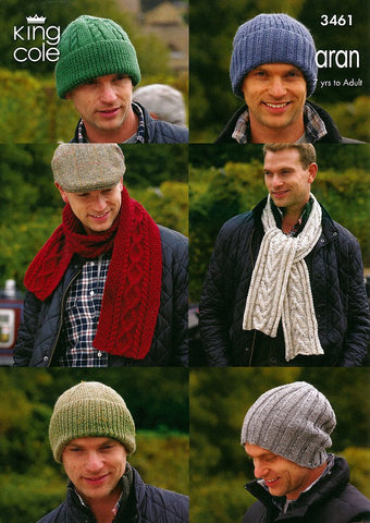 Hats & Scarves in King Cole Aran (3461)-Deramores