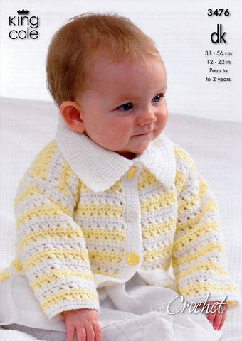 Hooded Jacket, Cardigan with Collar, Sweater and Waistcoat in King Cole DK (3476)-Deramores