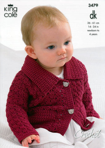 Collared Cardigan, Sweaters with Long and Short Sleeves and Waistcoat in King Cole DK (3479)-Deramores