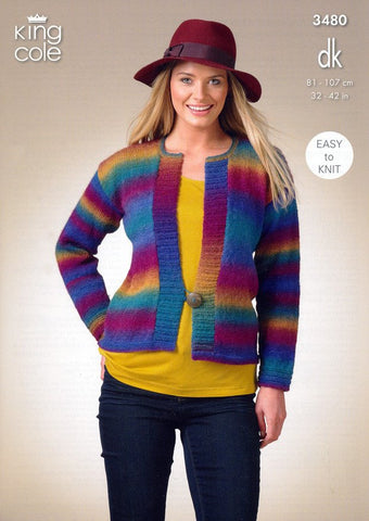 Cardigan and Waistcoat in King Cole Riot DK (3480)-Deramores