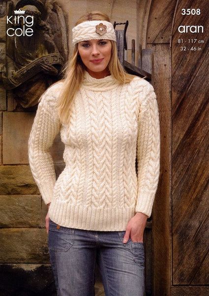 Sweater, Cardigan and Headband in King Cole Aran (3508)