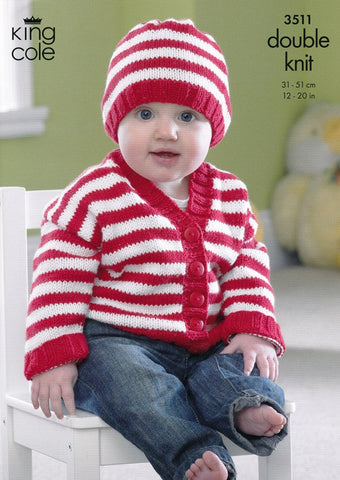 Cardigans and Hat in King Cole Cottonsoft DK (3511)-Deramores