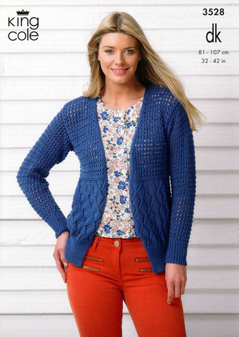 Cardigan and Top in King Cole Smooth DK (3528)-Deramores