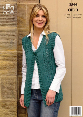 Waistcoat and Slipover in King Cole Aran (3544)