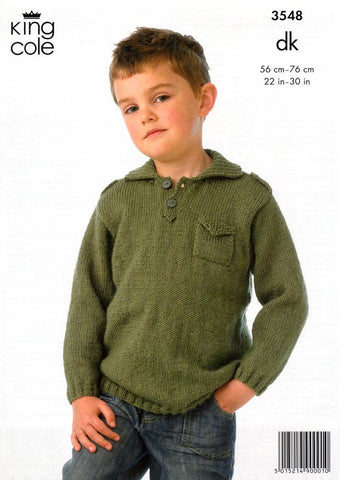 Boy's Jacket and Sweater in King Cole DK (3548)-Deramores