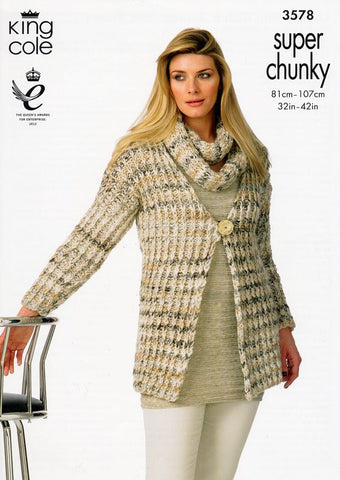 Slip Stitch Jackets and Snood in King Cole Gypsy Super Chunky (3578)
