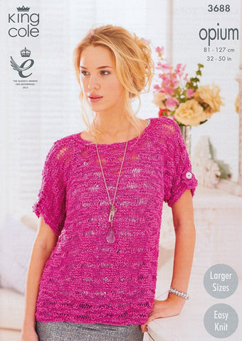 Ladies' Tops in King Cole Opium (3688)-Deramores