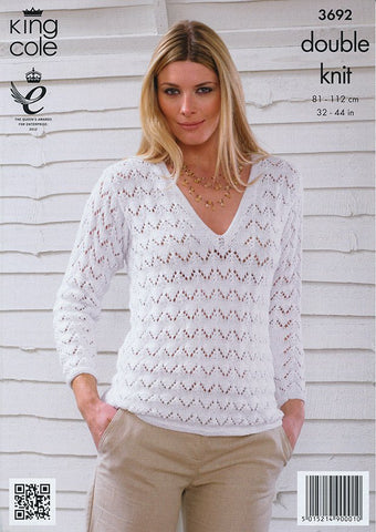 e952f3fc9 Sweater and Cardigan in King Cole Bamboo Cotton DK (3692)