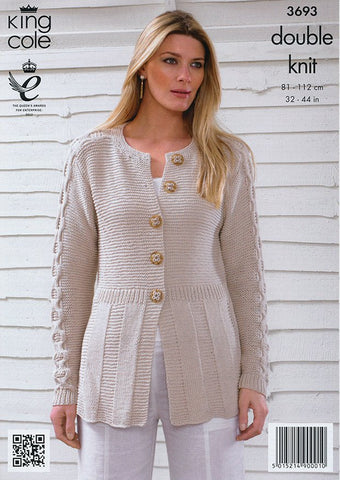 Cardigan and Top in King Cole Bamboo Cotton DK (3693)-Deramores
