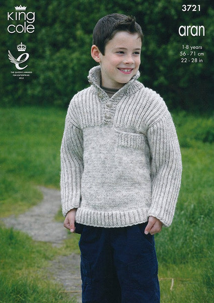 Cardigans and Sweaters in King Cole Aran (3721)-Deramores