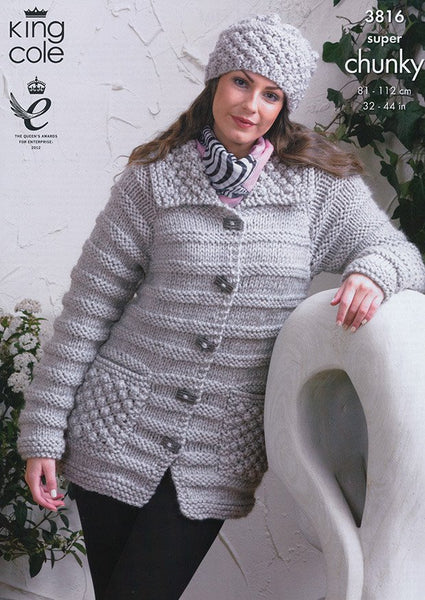Jacket, Sweater and Hat in King Cole Super Chunky (3816)-Deramores